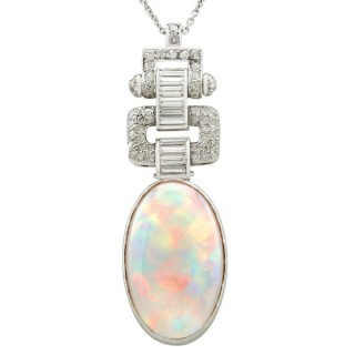 11.93ct Opal and 1.93ct Diamond, Platinum Pendant - Art Deco - Vintage Circa 1940