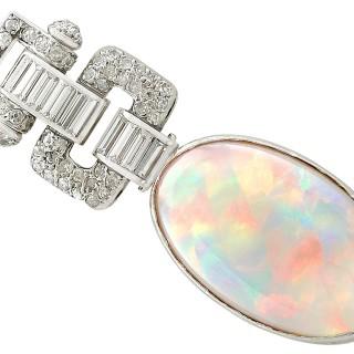 11.93ct Opal and 1.93ct Diamond, Platinum Pendant - Art Deco - Vintage Circa 1940