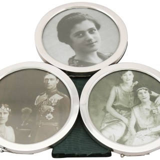 Sterling Silver Triple Photograph Frame - Antique Victorian (1899)