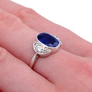 3.75ct Sapphire and 0.50ct Diamond, 9ct White Gold Dress Ring - Antique Circa 1930
