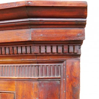 18th Century English Fruitwood Barrel Back Double Corner Cupboard