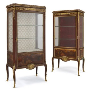 Two Vernis Martin and gilt bronze mounted display cabinets by Linke