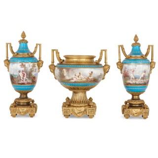 Antique gilt bronze mounted Sèvres porcelain garniture