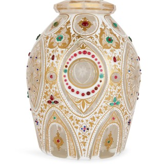 Pair of Persian style jewelled white overlay glass decanters