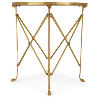 Two gilt bronze and malachite occasional tables