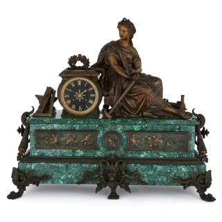 Antique malachite, gilt and patinated spelter mantel clock