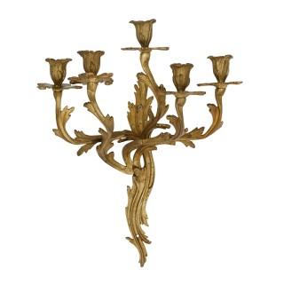 Five antique Louis XV style gilt bronze wall sconces