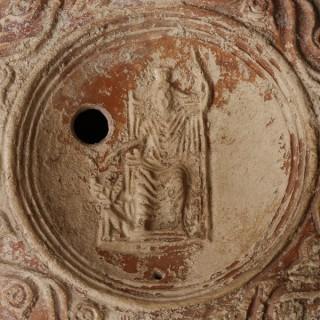 Ornate Roman Oil Lamp with Serapis