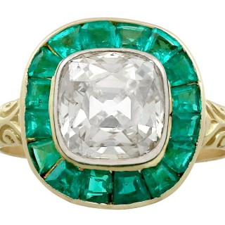 3.25ct Emerald and 1.92ct Diamond, 18ct Yellow Gold Dress Ring - Antique Circa 1880