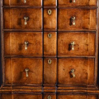 Antique Shaped Front Walnut Chest on Chest of Unusual Design