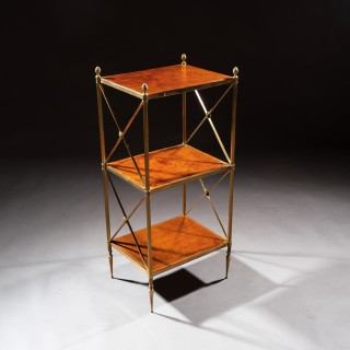 Fine Quality Mid-Century Brass and Leather Three Tier Etagere