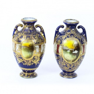 Antique Pair Taisho Period Noritake Hand Painted Porcelain Vases C1920
