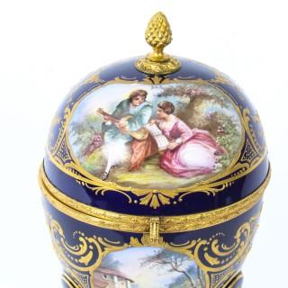 Antique Large Ovoid Ormolu Casket Sevres Porcelain Navy-Blue circa 1880 19th C