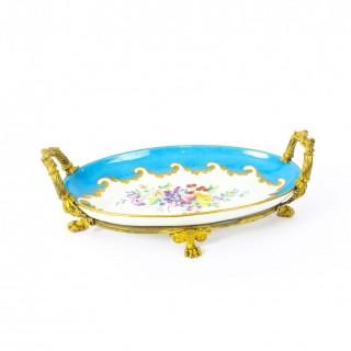 Antique Ormolu Mounted Bleu Celeste Sevres Porcelain Oval Centrepiece 19th C