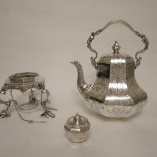 Antique Victorian Sterling silver kettle on stand