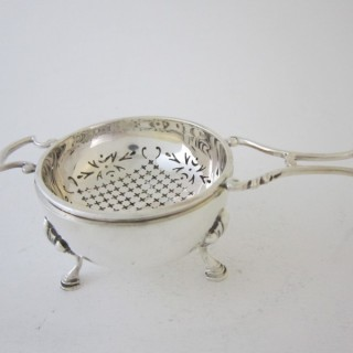 Antique George V Sterling silver tea strainer