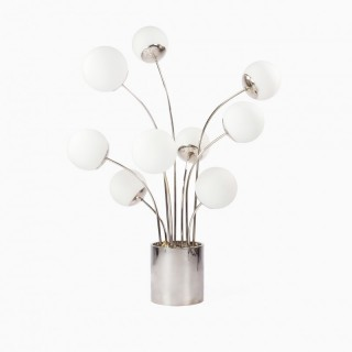 Pia Guidetti Crippa for Lumi Italia Chrome Table Lamp 1970s