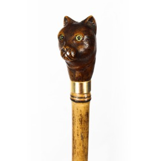 Antique Walking Stick Cane with Carved Head of Cat & Bamboo Shaft 19th C