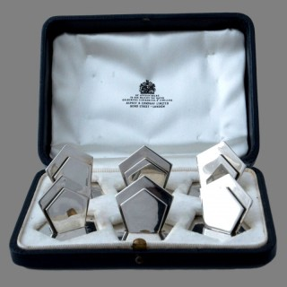 A set of six modernist Edwardian Asprey silver card holders