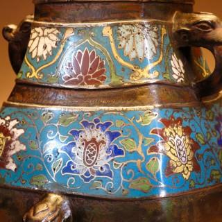 Japanese Bronze Champlevé Table Lamp Vase circa 1900