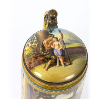Antique Vienna Porcelain Lidded Tankard with Amor and Psyche 19th Century