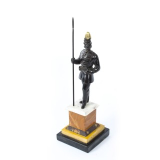 Antique Dark Patinated Bronze Figure of an Imperial Soldier 19th C