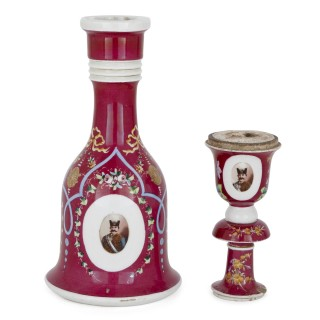 19th Century pink painted porcelain huqqa