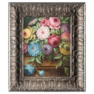 19th Century Antique Flower Painting on Board