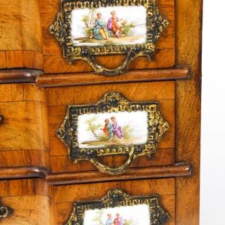 Antique Walnut Porcelain Mounted Miniature Commode Jewellery Box 19th C
