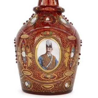 Antique gilt and enamelled ruby red glass decanter