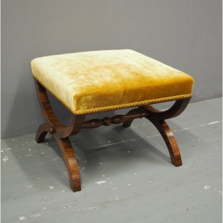 Rosewood and Gold Velour Stool