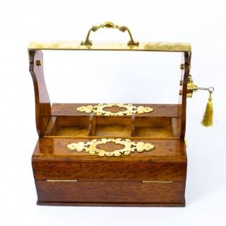 Antique English Victorian Betjemans Oak & Brass Tantalus & Humidor 19th C