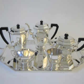 Art Deco George V Sterling silver tea set on tray