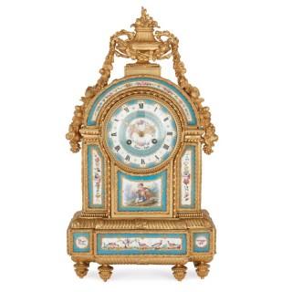 Sèvres style porcelain and gilt bronze mantel clock