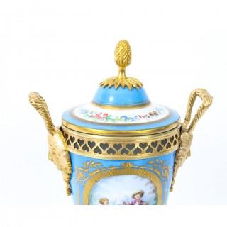 Antique French Bleu Celeste Ormolu Mounted Sevres Lidded Vase C1880