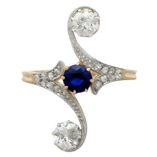 0.62ct Sapphire and 1.21ct Diamond, 14ct Yellow Gold Twist Ring - Antique Circa 1910