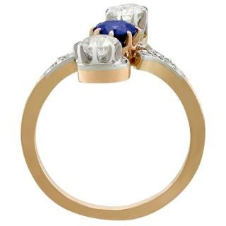 0.62ct Sapphire and 1.21ct Diamond, 14ct Yellow Gold Twist Ring - Antique Circa 1910