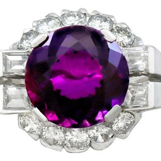 8.22ct Amethyst and 1.55ct Diamond, Platinum Cocktail Ring - Vintage Circa 1950