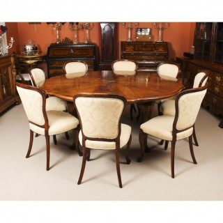 Antique Walnut Jupe Action Dining Table by Gillows & 8 chairs Late 19th Century