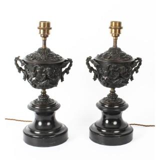 Antique Pair Grand Tour Bronze Urn Lamps Sir David Tang 19th C