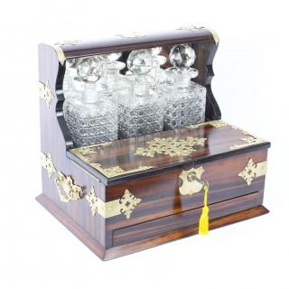 Antique Coromandel Three Crystal Decanter Tantalus C1880 19th Century