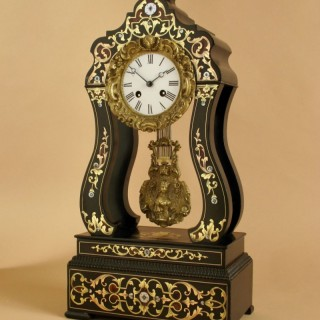 An Original French Boulle Inlaid Ebony and Ebonized Portico Clock, Circa 1870