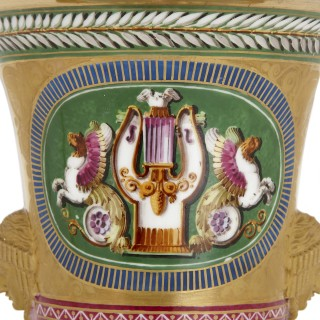 Two Empire period gilt porcelain vases by Dihl et Guérhard