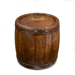 An  oak water keg from San Josef captured at the Battle of Cape St. Vincent