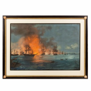 Watercolour of the Battle of the Nile