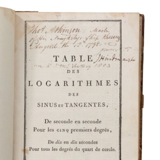 Master Thomas Atkinson's captured French Log Tables, 1798