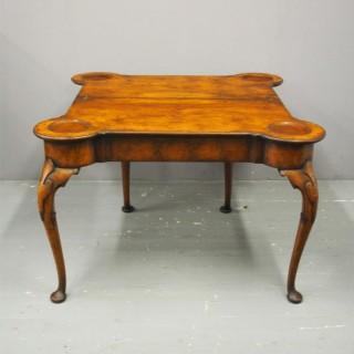 George II Style Walnut Foldover Table