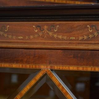 Edwardian Mahogany and Inlaid Corner Display Cabinet