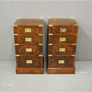 Pair of Walnut Military Style Lockers or Bedsides