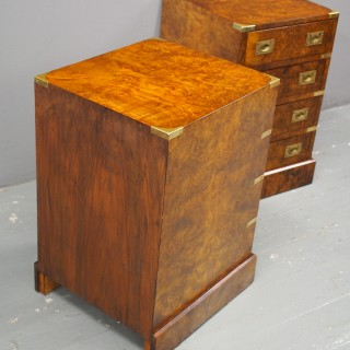 Pair of Walnut Military Style Small Chest of Drawers